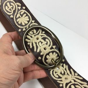 Lucky Brand Sz S Boho Embroidered Leather Belt